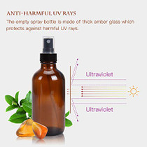 Amber Glass Spray Bottles 4oz ULG Fine Mist Sprayers Empty Spray Atomizer for Essential Oils Aromatherapy Cosmetic Sprays Including 16 PCS Waterproof DIY Labels 4PCS Spray Replacement