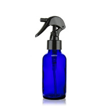 1 oz Cobalt BLUE Boston Round Glass Bottle w/ Black Mini Trigger Spray