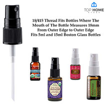"""Top Home Store Fine Mist Sprayer Pump Cap with 4"""" Dip Tube, 20 Count, Reusable Dispenser Caps for Essential Oils, Hair and Body Sprays, Aromatherapy, DIY Cleaning Liquids"""