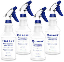 CORQUE Heavy Duty Empty Spray Bottles (4 Pack, 16 oz), Fully Adjustable Nozzle (Mist to Stream), Leak Proof, Refillable, Measurement Marks, Industrial Quality, Chemical Resistant, All Purpose