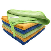 """12""""x12"""" 400GSM Microfiber Cleaning Cloth 6PCS 3 Colors(Green Blue Orange) Reusable Wash Clothes for House Boat Car Window Cleaner 2PCS Screen Cloth as Gift"""