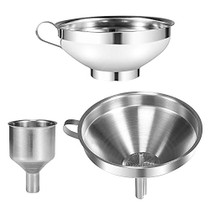 3 Pack Funnel, Stainless Steel Kitchen Funnels with Removable Strainer, Canning Funnel for Mason Jar, Mini Funnel for Filling Wine Bottles, for transferring Spices Liquid Powder Bean Jam