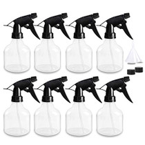 8 Pack, 8oz Empty Clear Plastic Spray Bottles with Trigger Sprayers, Fine Mist Adjustable Nozzle for Plants, Cleaning Solutions, Essential Oils