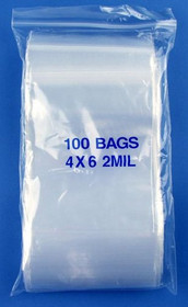 "4"" x 6"", 2 Mil Clear Zip Lock Bags"