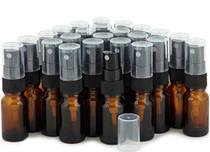 24, Amber, 10 ml (1/3 oz) Glass Bottles, with Black Fine Mist Sprayer