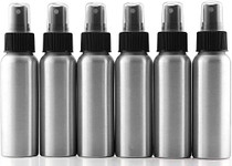 2-Ounce Aluminum Fine Mist Spray Bottles (6-Pack); Mini Metal Atomizer Bottles, 2.75oz Travel / Purse / Sample Size