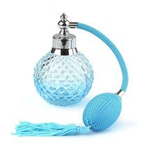 Crystal Art Vintage Style Refillable Perfume Atomizer Long Spray Bottle 100ml (Blue)