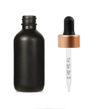 2 Oz Matte Black Glass Bottle w/ Black Rose Gold Calibrated Glass Dropper
