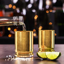 50 Caliber Brass Ceramic Shot Glasses - Set of 2