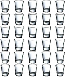 2-Ounce Round Clear Shot Glasses Sets with Heavy Base, Set of 30