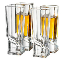 Carre Shot Glasses Square Heavy Base Shot Glass Set Of 4, 1.8-Ounce