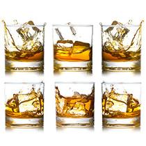 BIGA Whiskey Rocks Glasses with Heavy Base and Lead-Free Crystal for Vodka Bourbon Whisky Scotch Liquor (12oz set of 6)