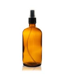 16 oz AMBER Boston Round Glass Bottle - w/ Black Fine Mist Sprayer