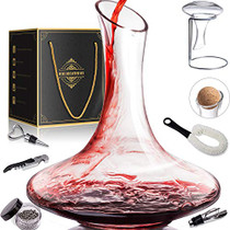 1800ML Crystal Glass 64 Oz Wine Decanter Wine Carafe Gifts for Red Wine Lover, Decanter with Wine Accessories - Wine Bottle Opener, Wine Stopper & Pourer, Cleaning Brush & Beads & Drying Stand & Cork