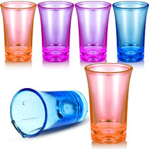 6 Pieces Party Shot Glasses Colorful Shot Acrylic Cups Heavy Base Shot Glass Set for Whiskey, Liqueurs, Cocktail, 1.2 Ounce