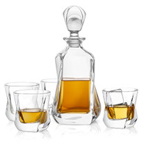 Aurora 5-Piece Crystal Whiskey Decanter Set,100% Crystal Bar Set, Crystal Decanter Set Comes With A Scotch Decanter-25.3 Ounces And A Set Of 4 Old Fashioned Whiskey Glasses-8.10oz