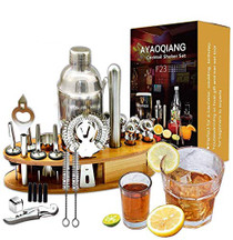 24-Piece Bartender Kit Cocktail Shaker Set with Espresso Bamboo Stand,Perfect Home Bartending Kit for an Awesome Drink Mixing Experience,Stainless Steel Bar Tools With Stand