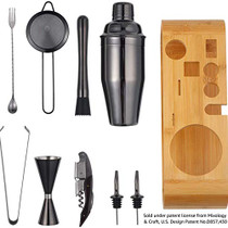 Bartender Kit: 10-Piece Bar Tool Set with Bamboo Stand - Perfect Home Bartending Kit and Cocktail Martini Shaker Set to Mix Drinks with Classic Cocktail Recipes (Black)