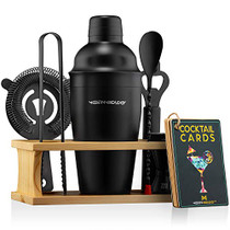 Bartender Kit with Stand | Black Bar Set Cocktail Shaker Set for Drink Mixing - Bar Tools: Martini Shaker, Jigger, Strainer, Bar Mixer Spoon, Tongs, Opener | Best Bartender Kit for Beginners