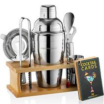 Bartender Kit with Stand | Bar Set Cocktail Shaker Set for Drink Mixing - Bar Tools: Martini Shaker, Jigger, Strainer, Bar Mixer Spoon, Tongs, Bottle Opener | Best Bartender Kit for Beginners