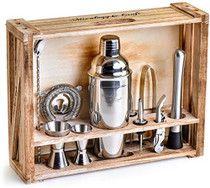 Bartender Kit: 11-Piece Bar Tool Set with Rustic Wood Stand - Perfect Home Bartending Kit and Cocktail Shaker Set For an Awesome Drink Mixing Experience (Silver)