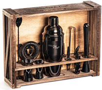 Bartender Kit: 11-Piece Bar Tool Set with Rustic Wood Stand | Perfect Home Bartending Kit and Cocktail Shaker Set For an Awesome Drink Mixing Experience (Gun-Metal Black)