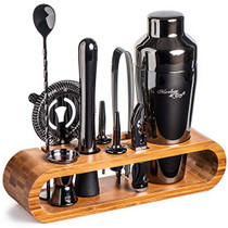 Bartender Kit: 10-Piece Bar Tool Set with Stylish Bamboo Stand | Perfect Home Bartending Kit and Martini Cocktail Shaker Set For an Awesome Drink Mixing Experience (Gun-Metal Black)