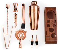Bartender Kit: 10-Piece Bar Set Cocktail Shaker Set with Stylish Mahogany Stand | Perfect Home Bartending Kit with Bar Tools and Martini Shaker for Foolproof Drink Mixing (Copper)