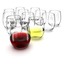Stemless Wine Glasses Set of 12 - 15 0z. Oversized Wine Glass - Made from BPA-Free, Sturdy Glass - Dishwasher Safe - Perfect to Use As Red Wine Glasses or White Wine Glasses
