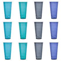 Splash 28-ounce Plastic Tumblers | Value set of 12 in 4 Coastal Colors