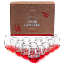 Unbreakable Stemless Wine Glasses | Set of 12 | 100% Tritan Shatterproof Plastic | 16 Oz | Dishwasher Safe | By YO BISTRO