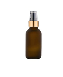 1 oz Frosted Amber Glass Bottle w/ Black Matt Gold treatment Pump- Pack of 120