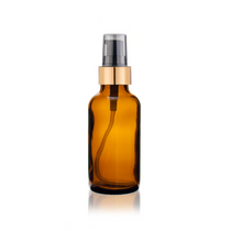 1 oz Amber Glass Bottle w/ Black-Matte Gold Treatment Pump