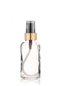 2 Oz Clear Glass Bottle w/ Black-Matte Gold Treatment Pump