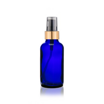 1 oz Cobalt Blue Glass Bottle w/ Black-Matte Gold Treatment Pump