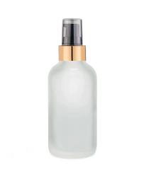 1 Oz Frosted Glass Bottle w/ Black-Matte Gold Treatment Pump