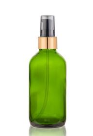 1 Oz Green Glass Bottle w/ Black-Matte Gold Treatment Pump