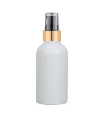1 Oz Matt White Glass Bottle w/ Black-Matte Gold Treatment Pump