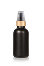 2 Oz Matte Black Glass Bottle w/ Black-Matt Gold Treatment Pump