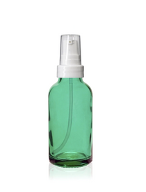 1 Oz Caribbean Green Glass Bottle w/ White Treatment Pump