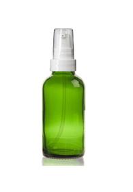 1 Oz Green Glass Bottle w/ White Treatment Pump