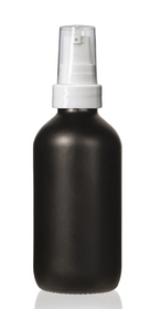 1 Oz Matt Black Glass Bottle w/ White Treatment Pump