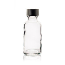 1 oz (30ml) CLEAR Boston Round Glass Bottle - w/Poly Seal Cone Cap