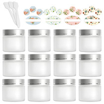 12 Pack 60ml 2 oz Matte Clear Glass Jars with Silver Lids & Inner Liners,Round Containers Travel Jars