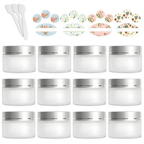 12 Pack 30ml 1 oz Matte Clear Glass Jars with Silver Lids & Inner Liners,Round Containers Travel Jars