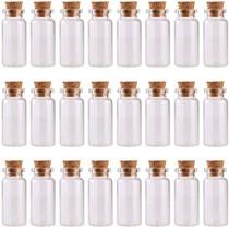 MAXMAU 24PCS 10ml Glass Bottles Cork Stoppers DIY Decoration Mini Glass Vials Cork Message Glass Bottle Vial Cork,Small Glass Bottles Jars Corks for Wedding Party Favors