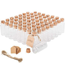Brajttt 64PCS Cork Stoppers Glass Bottles, DIY Decoration Tiny Glass Jars Favors,Mini Vials Cork,10ml Storage Container for Art Crafts,Small Glass Jars for Wedding Party Supplies