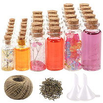 44pcs Mini Glass Jars Bottles with Cork Stoppers Wish Bottles(20pcs 5ml and 12pcs 10ml and 12pcs 20ml),50pcs Eye Screws,30 Meters Twine and 2pcs Funnel