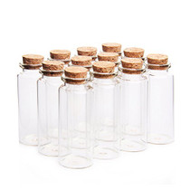 """Danmu 30ml 1.18"""" x 2.75"""" Mini Glass Bottles, Jars with Wood Cork Stoppers, Tiny Glass Jars, Wishing Bottles, Message Bottle for Wedding Favors, Halloween Decorations, Baby Shower Favors, DIY Craft (12Pcs)"""