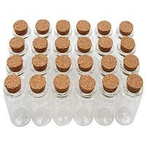 10 mL Cork Stopper Glass Bottles Mini Clear Glass Bottles 24 Pcs.